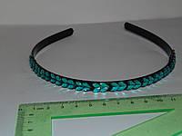 Обруч тонкий черный 0,8 см , цветные стразики