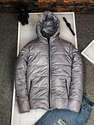 Куртка мужская серая с капюшоном теплая демисезонная