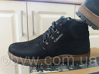Зимові чоловічі черевики з натуральної шкіри на овчині.