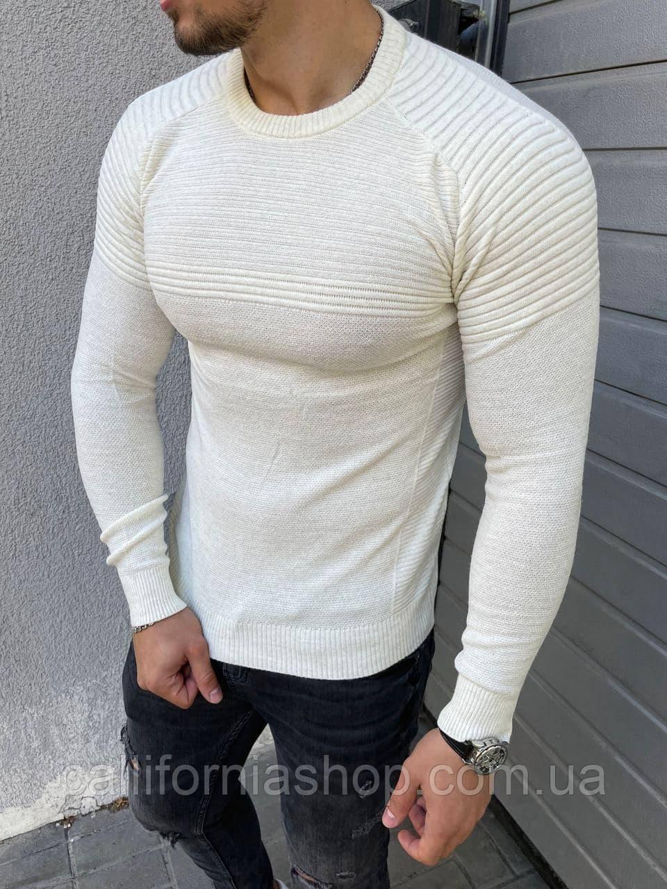 Чоловічий светр білий з круглим вирізом