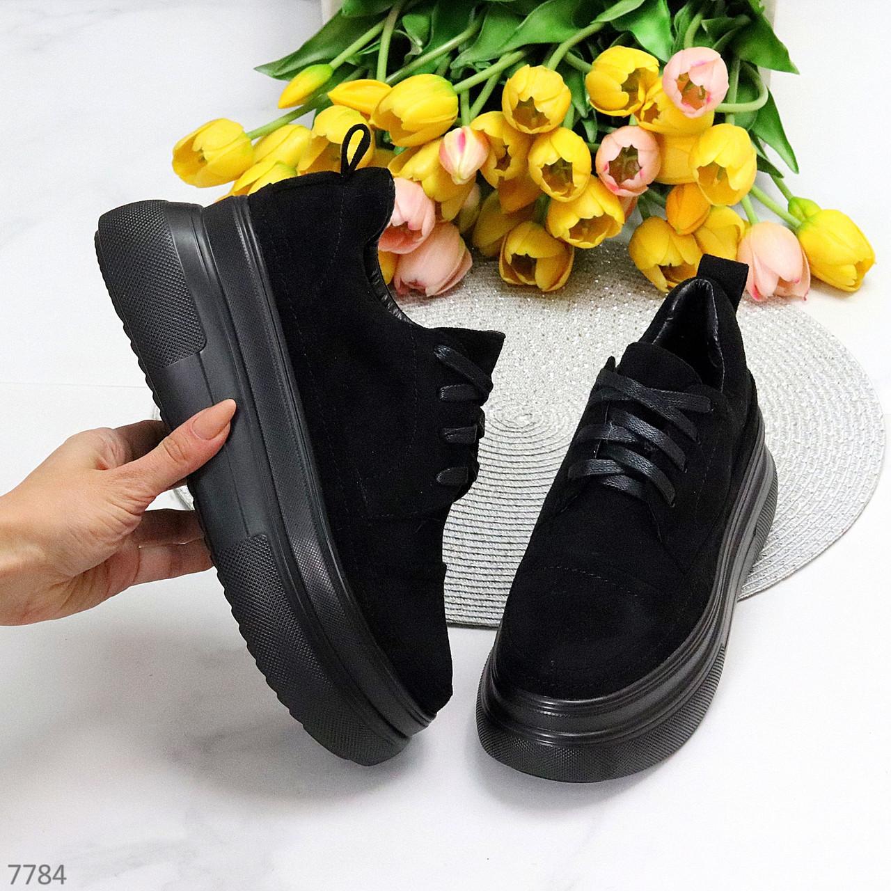 Модные черные замшевые женские кеды криперы на платформе