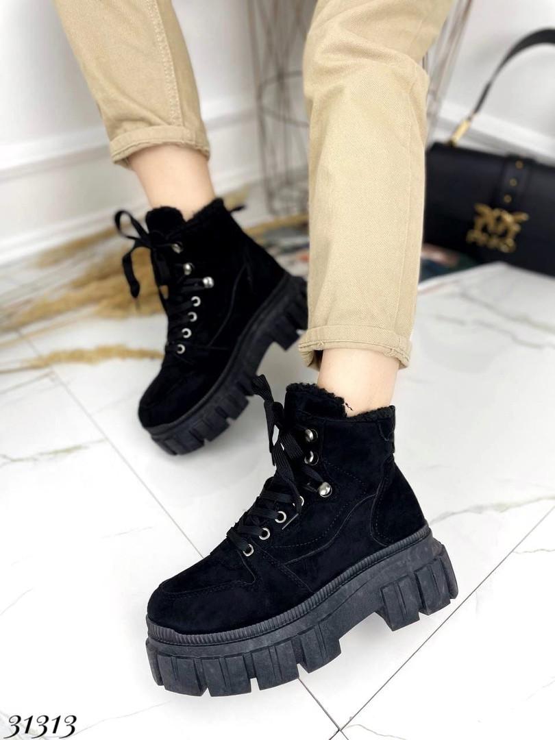 Ботинки на шнуровке Цвет: чёрный