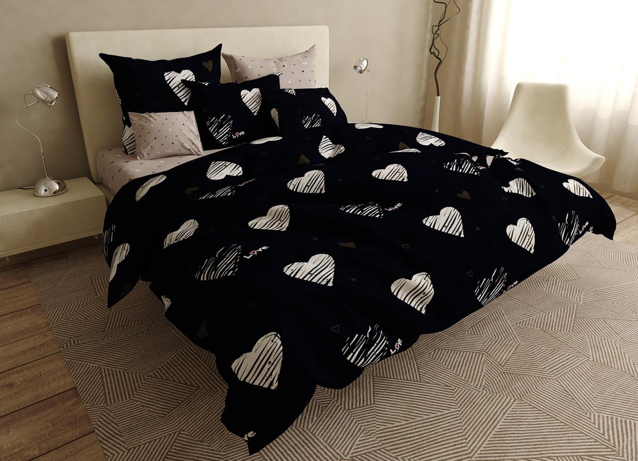 Двуспальный комплект постельного белья евро 200*220 ранфорс  (18303) TM KRISPOL Украина