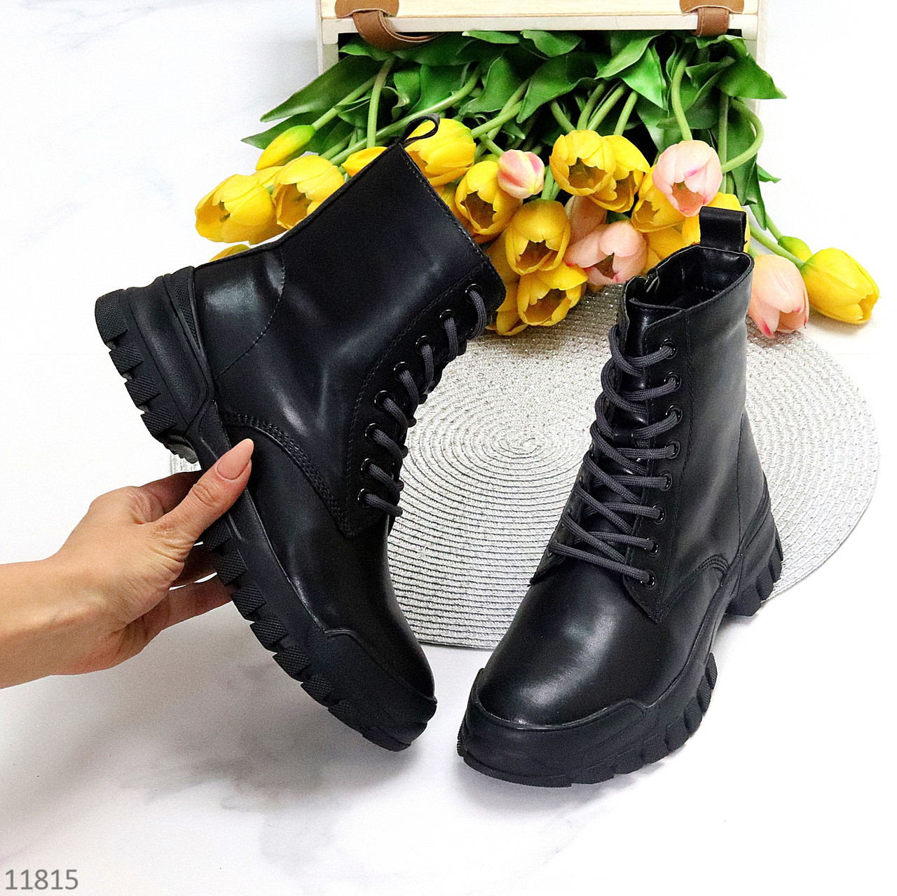 Молодежные кожаные черные женские ботинки натуральная кожа на флисе