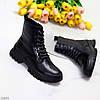 Молодежные кожаные черные женские ботинки натуральная кожа на флисе, фото 3
