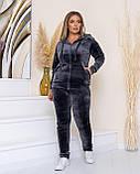 Жіночий теплий велюровий костюм, Розміри 50,52,54,56, 3 кольори, (Україна), фото 2