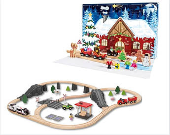 Новогодний адвент календарь + железная дорога 95 деталей Германия PlayTive (Ikea Lillabo, Viga Toys, Brio)
