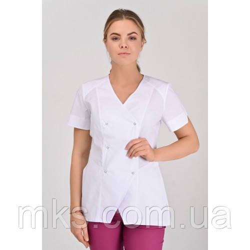 Медицинская куртка Тоскана Белая, Короткий Рукав