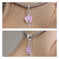 Серебряный шарм подвес Орхидея розовая