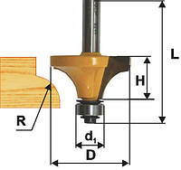 Фреза кромочная калевочная ф16х6, r1.6, хв.8мм (арт.9258)