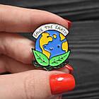 "Значок, брошка-значок, пін з металу на одяг, металевий значок ""Save the earth. Врятуємо Землю"", фото 2"