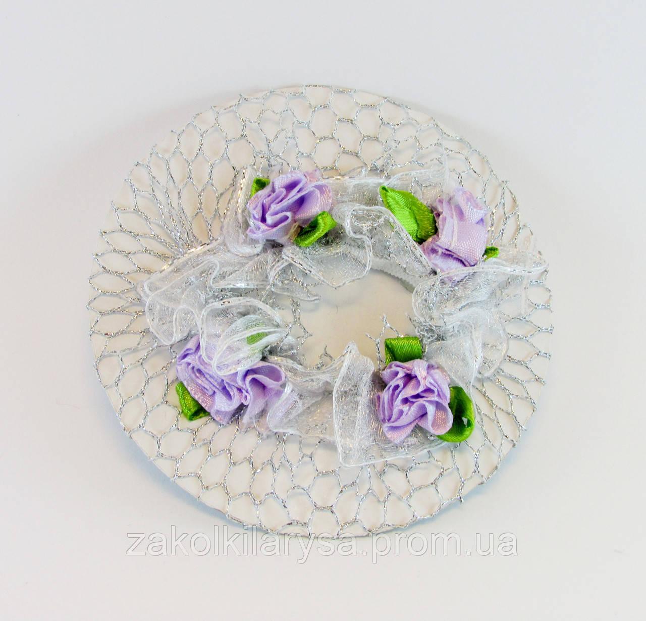Сітка на гульку з трояндочками срібло-20 шт. - Ø 10,0 див.