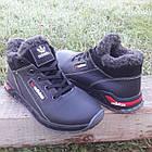 Кроссовки мужские зимние Adidas р.41 кожа Харьков чёрные, фото 4