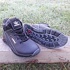 Кроссовки мужские зимние Adidas р.41 кожа Харьков чёрные, фото 3
