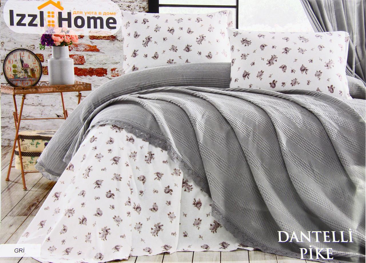 Покривало-плед ISSI HOME 220х240 бавовна Dantel сірий