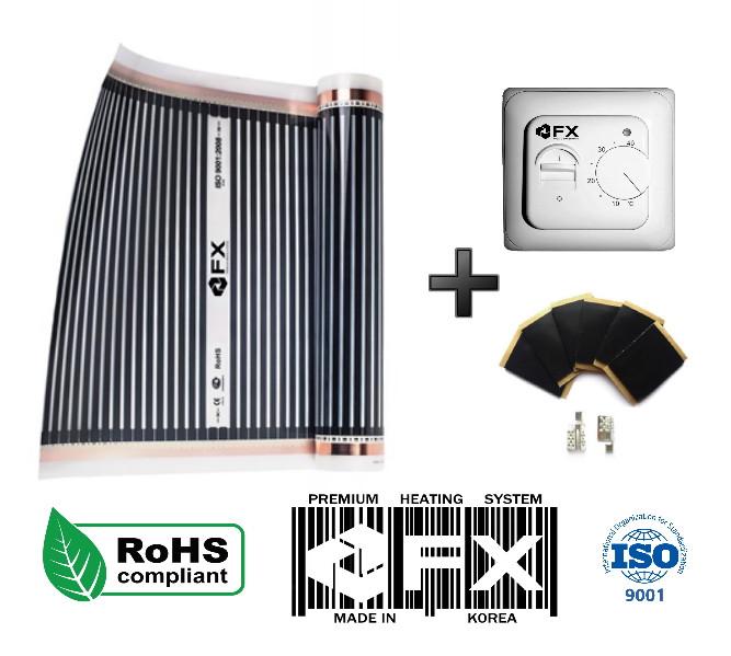 Акция!13м2(2,86кВт) Инфракрасный Теплый пол Felix FX Корея+Терморегулятор Термопленка под линолеум
