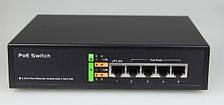 Комутатор POE 48V 4 порту PoE + 1 порт Gigabit Ethernet (UP-Link), корпус -метал, Black, вбудований БЖ