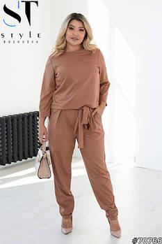 Стильний жіночий костюм двійка з кофти та штанів з кишенями з 48 по 62 розмір