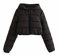 Женская стильная укороченная куртка с капюшоном, фото 1