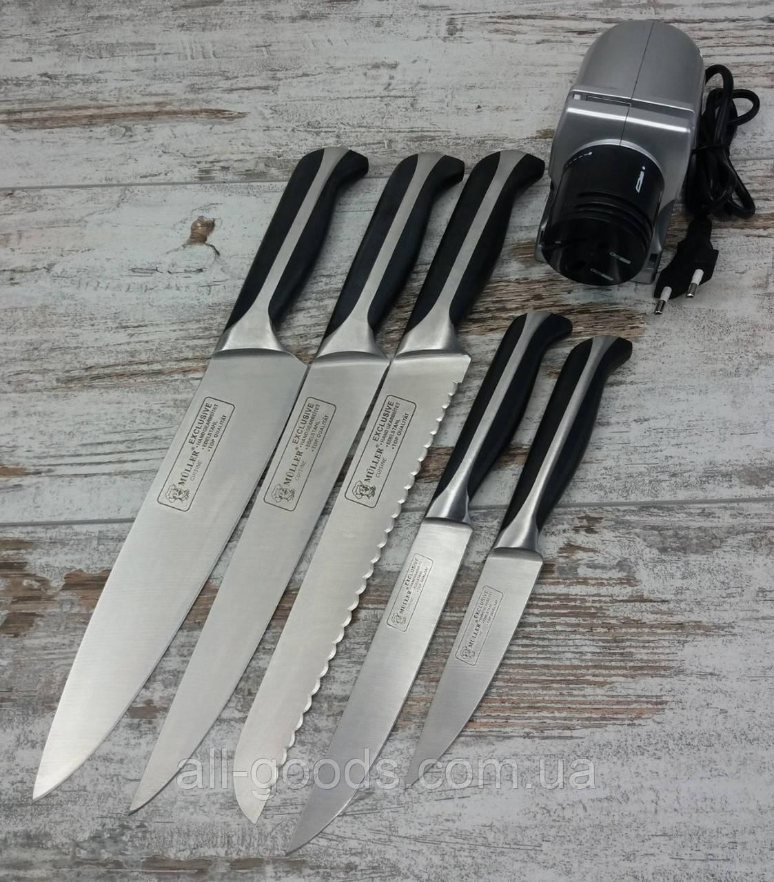 Электрическая точилка для заточки ножей Sharpener в комплекте с набором кухонных ножей Muller 5 шт All