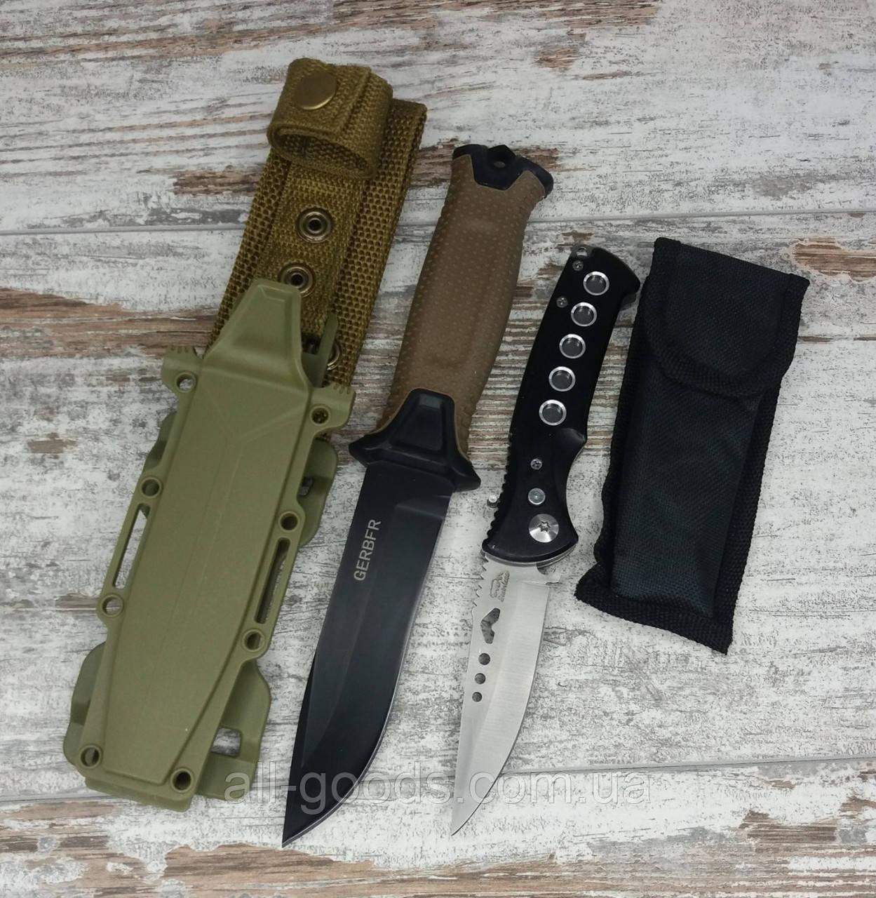 Тактический нож Gerber АК-207 в комплекте с универсальным выкидным ножом D-888 / 20 см All