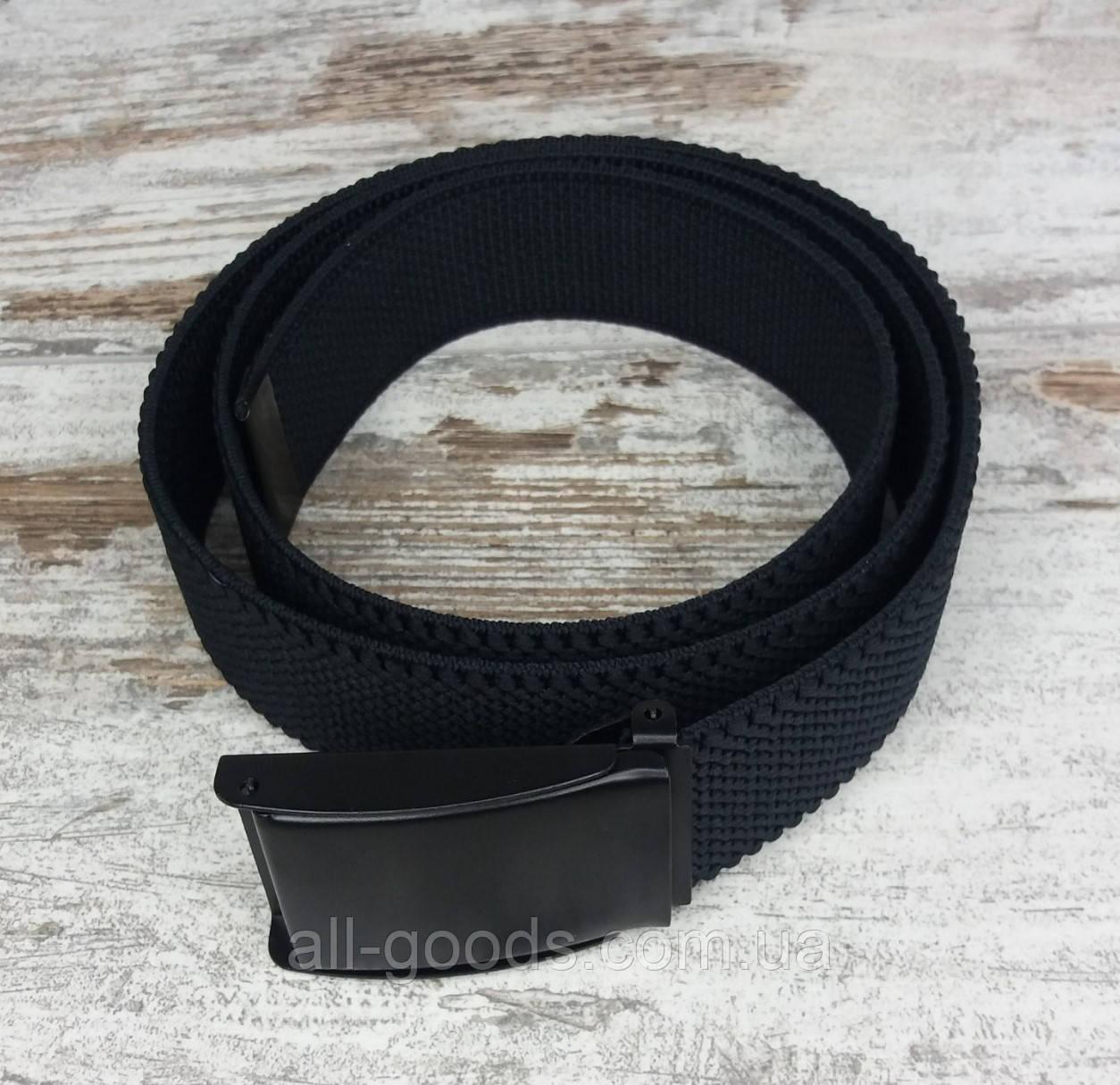 Ремень джинсовый резинка с пряжкой зажим 40 мм черный, оригинальный модный текстильный ремень All