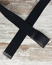 Ремень джинсовый резинка с пряжкой зажим 40 мм черный, оригинальный модный текстильный ремень All, фото 2