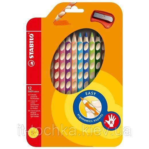 Олівці 12 кольорів для правші з точилкою stabilo easycolors (290224)