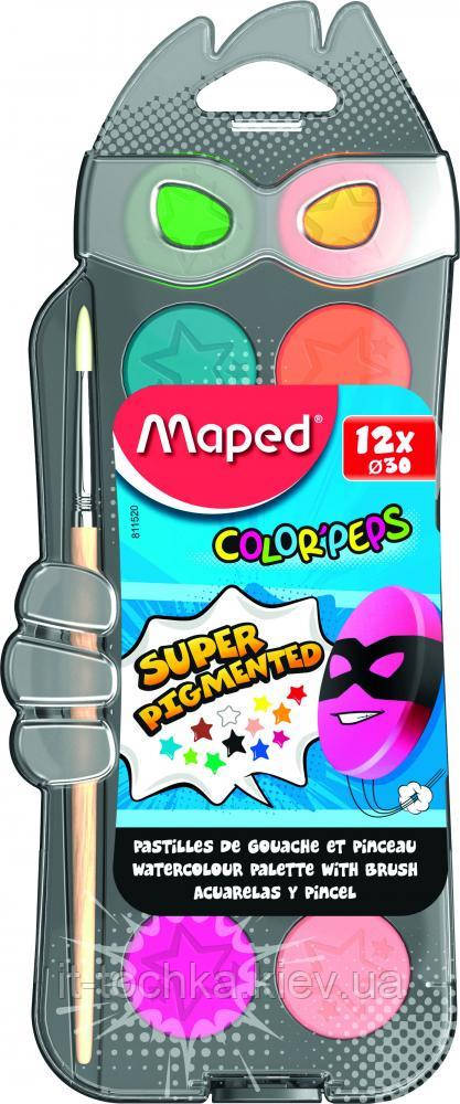 Акварельные краски maped mp.811520 color peps на 12 цветов + кисточка