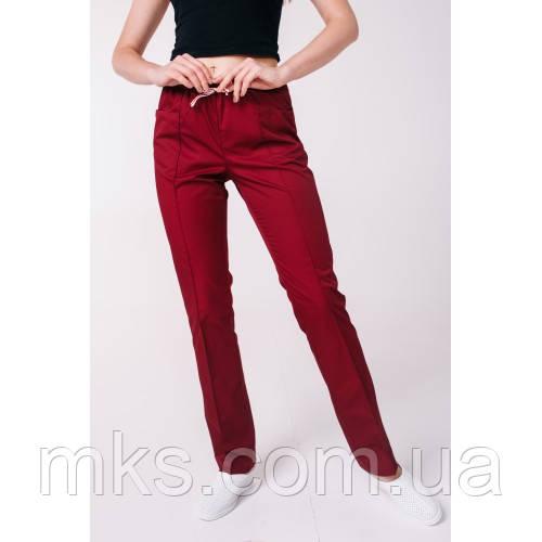 Медичні штани з кишенями жіночі Бордо