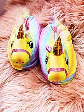 Тапочки-игрушки Кигуруми Единорог Радужный S (Размер 31-36)