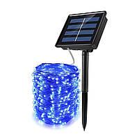 Гірлянда роса Copper Solar 100B-5 вулична з акумулятором і сонячною панеллю 10м (Синій) Краща якість