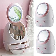 Органайзер для косметики з LED дзеркалом (Білий) (W-1) Краща якість