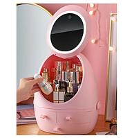 Органайзер для косметики з дзеркалом і LED-підсвічуванням, Рожевий (W-2) Краща якість