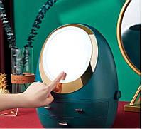 Органайзер для косметики з LED дзеркалом (Зелений) (W-3) Краща якість