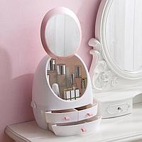 Органайзер для косметики з дзеркалом Білий W-4 / Косметичний бокс Кращу якість
