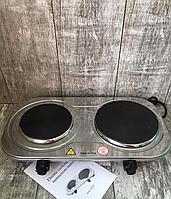 Плита электрическая двухконфорочная дисковая Rainberg RB-007 из нержавеющей стали 3500Вт Лучшее качество