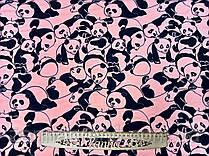 "Ткань футер двунитка цвет розово-персиковый ""Панды"""