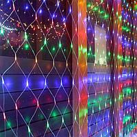 Гірлянда Сітка Xmas 1.5 м х 1.5 м , 144 Led колір мульти,прозорий провід Кращу якість