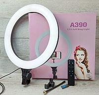 Кольцевая LED лампа A390, 1 крепление телефона, пульт, 220V,  диаметр 39см (301-330) Лучшее качество