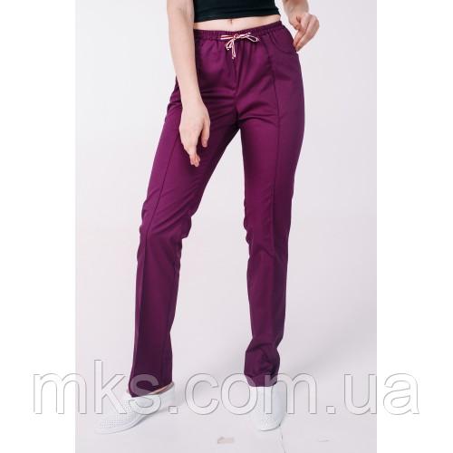 Медицинские штаны с карманами женские Слива
