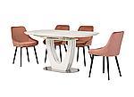 Стіл обідній TML-866 білий мармур, кераміка, розкладний, фото 6