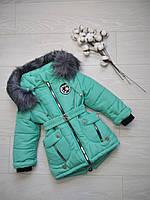 Зимняя куртка для девочки Снежинка бренд Svik 98 мята