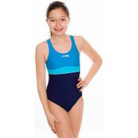 Купальник для девочки цельный Aqua Speed Emily 140 Темно-синий с голубым aqs042 IB, КОД: 961533