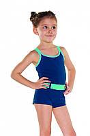 Купальник для девочки Shepa 071 128 см Темно-синий с бирюзовым sh0381 TR, КОД: 979428