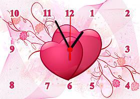 """Годинники настінні скляні """"Два серця"""""""