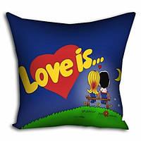 Подушка с принтом PPillow Love is... Синяя 101609B TV, КОД: 2543037