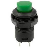 Кнопка круглая зеленая с фиксацией DS-425A (d=12mm 250VAC 3A)