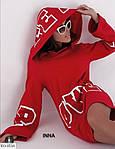 """Подовжена туніка (худі) """"feel power"""" на флісі, 42-46, чорний, червоний, фото 2"""