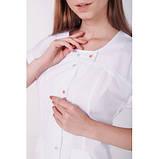 Медичний халат Гранада Білий/Кольоровий кнопка, фото 3